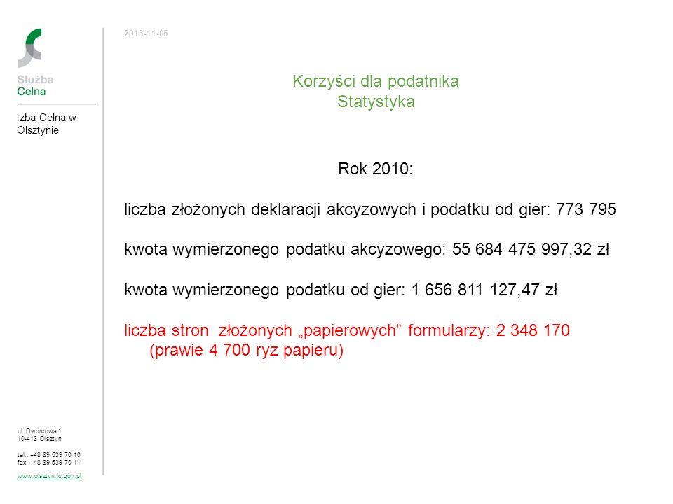 ul. Dworcowa 1 10-413 Olsztyn tel.: +48 89 539 70 10 fax :+48 89 539 70 11 www.olsztyn.ic.gov.pl 2013-11-05 Korzyści dla podatnika Statystyka Rok 2010
