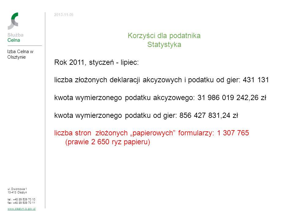 ul. Dworcowa 1 10-413 Olsztyn tel.: +48 89 539 70 10 fax :+48 89 539 70 11 www.olsztyn.ic.gov.pl 2013-11-05 Korzyści dla podatnika Statystyka Rok 2011