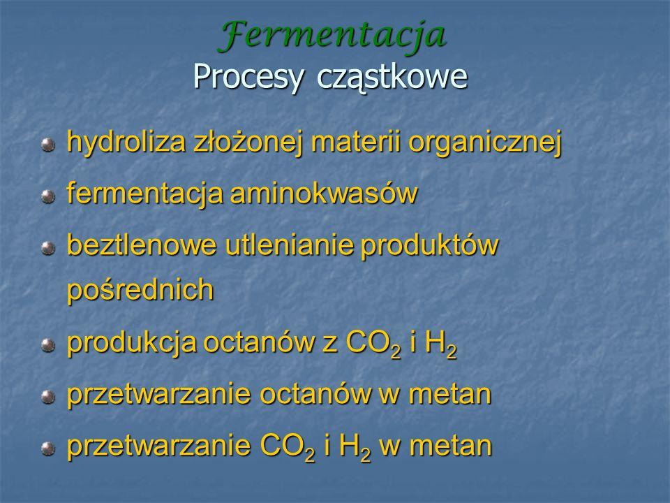 Fermentacja Procesy cząstkowe hydroliza złożonej materii organicznej fermentacja aminokwasów beztlenowe utlenianie produktów pośrednich produkcja octa