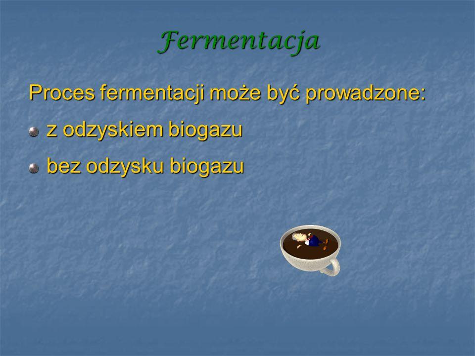 Fermentacja Proces fermentacji może być prowadzone: z odzyskiem biogazu bez odzysku biogazu