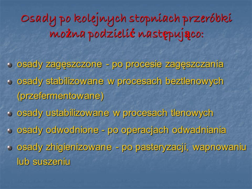 Osady po kolejnych stopniach przeróbki mo ż na podzieli ć nast ę puj ą co: osady zagęszczone - po procesie zagęszczania osady stabilizowane w procesac
