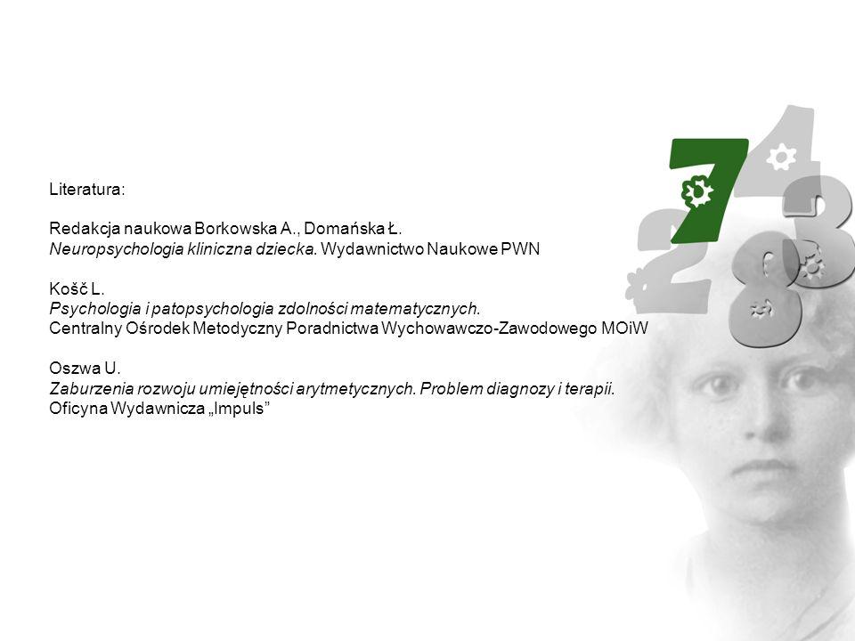 Literatura: Redakcja naukowa Borkowska A., Domańska Ł. Neuropsychologia kliniczna dziecka. Wydawnictwo Naukowe PWN Košč L. Psychologia i patopsycholog