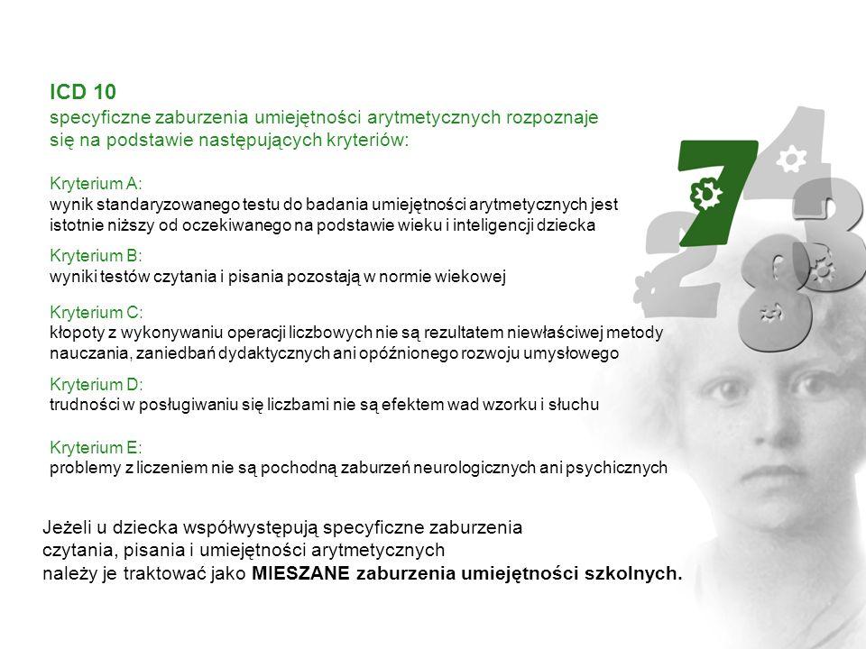 ICD 10, polska wersja SZRUS Specyficzne zaburzenia rozwoju umiejętności szkolnych [SZRUS] obejmują trudności w czytaniu, pisaniu i liczeniu.