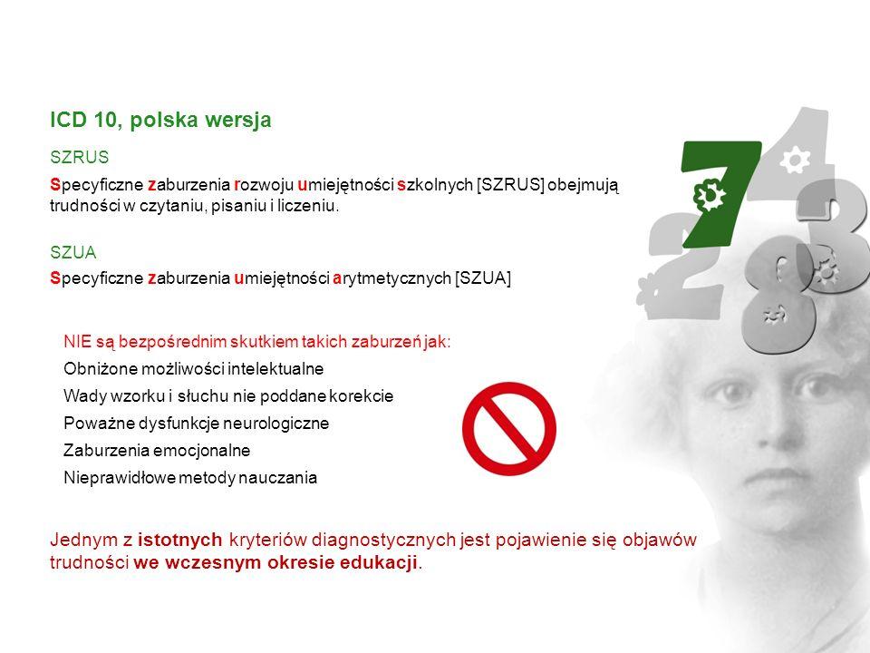 ICD 10, polska wersja SZRUS Specyficzne zaburzenia rozwoju umiejętności szkolnych [SZRUS] obejmują trudności w czytaniu, pisaniu i liczeniu. SZUA Spec