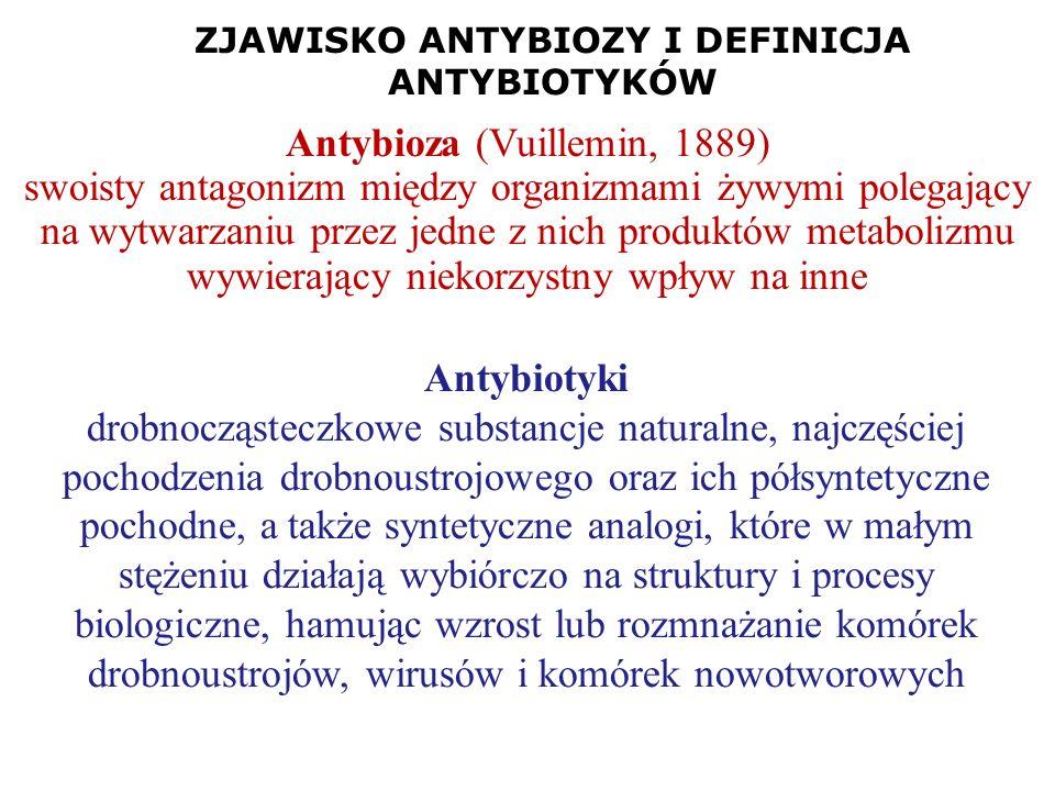 ZJAWISKO ANTYBIOZY I DEFINICJA ANTYBIOTYKÓW Antybiotyki drobnocząsteczkowe substancje naturalne, najczęściej pochodzenia drobnoustrojowego oraz ich pó