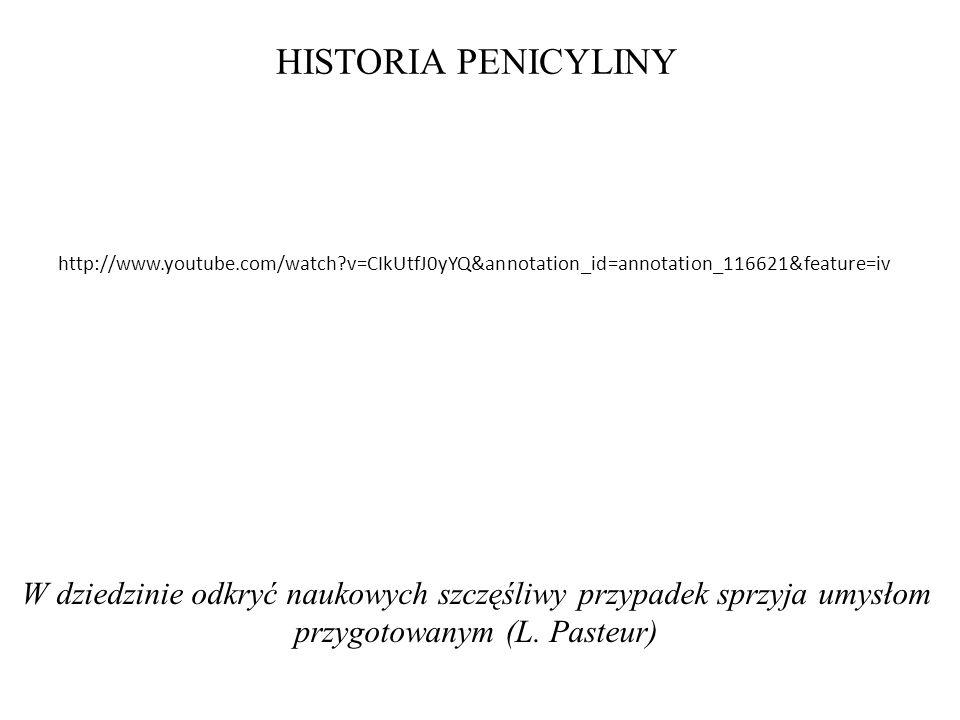 HISTORIA PENICYLINY W dziedzinie odkryć naukowych szczęśliwy przypadek sprzyja umysłom przygotowanym (L. Pasteur) http://www.youtube.com/watch?v=CIkUt