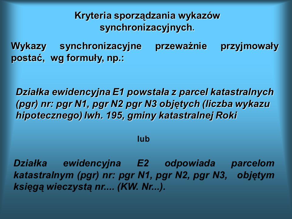 Działka ewidencyjna E1 powstała z parcel katastralnych (pgr) nr: pgr N1, pgr N2 pgr N3 objętych (liczba wykazu hipotecznego) lwh. 195, gminy katastral