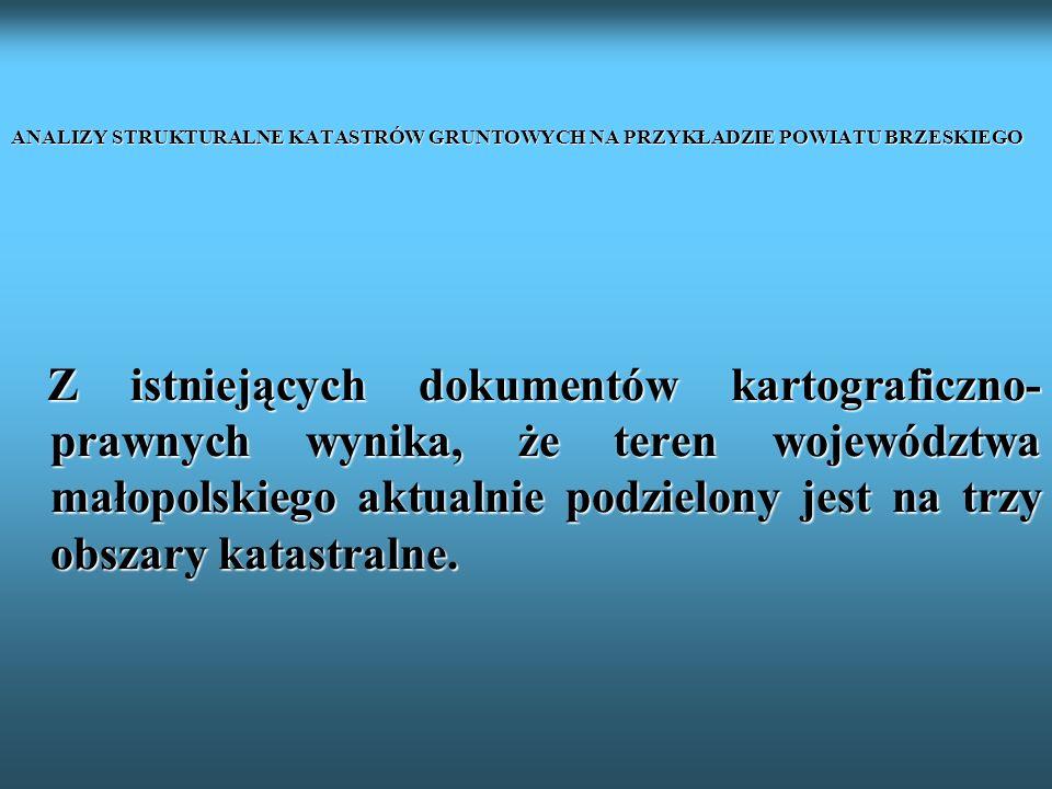 ANALIZY STRUKTURALNE KATASTRÓW GRUNTOWYCH NA PRZYKŁADZIE POWIATU BRZESKIEGO Z istniejących dokumentów kartograficzno- prawnych wynika, że teren wojewó