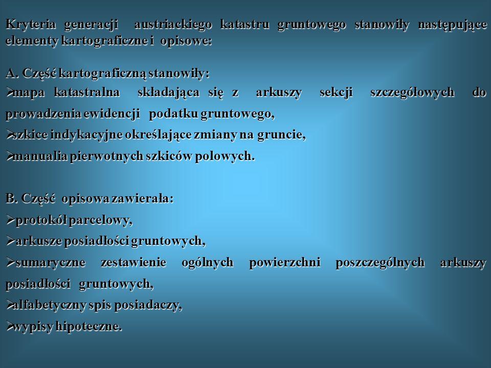Kryteria generacji austriackiego katastru gruntowego stanowiły następujące elementy kartograficzne i opisowe: A. Część kartograficzną stanowiły: mapa