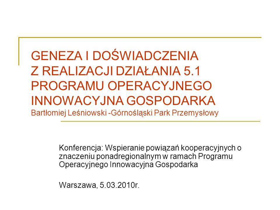 GENEZA I DOŚWIADCZENIA Z REALIZACJI DZIAŁANIA 5.1 PROGRAMU OPERACYJNEGO INNOWACYJNA GOSPODARKA Bartłomiej Leśniowski -Górnośląski Park Przemysłowy Kon