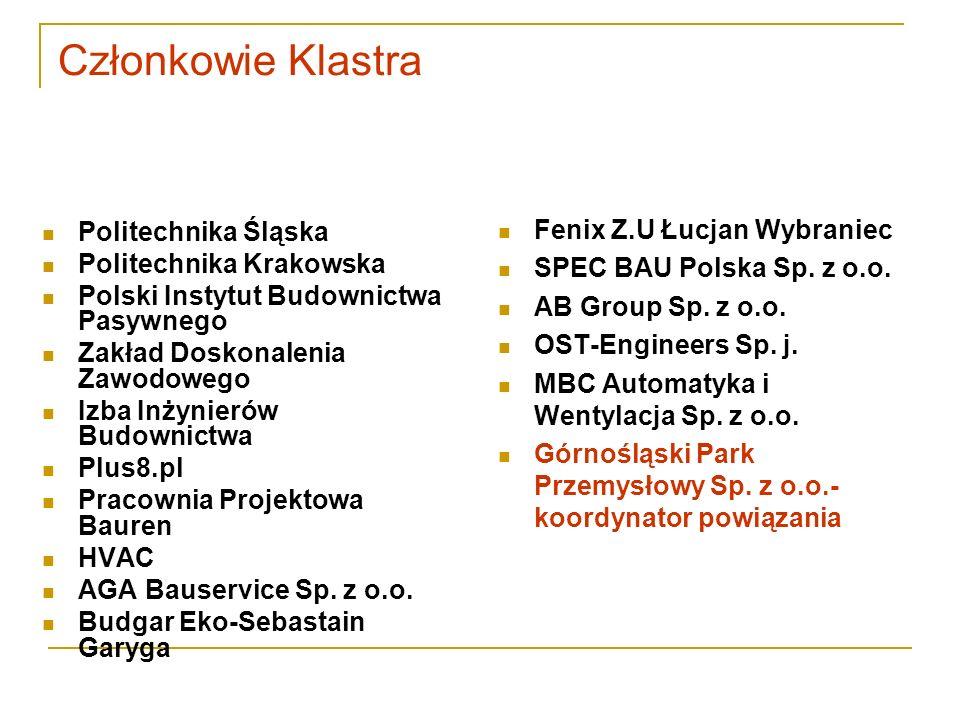 Członkowie Klastra Politechnika Śląska Politechnika Krakowska Polski Instytut Budownictwa Pasywnego Zakład Doskonalenia Zawodowego Izba Inżynierów Bud