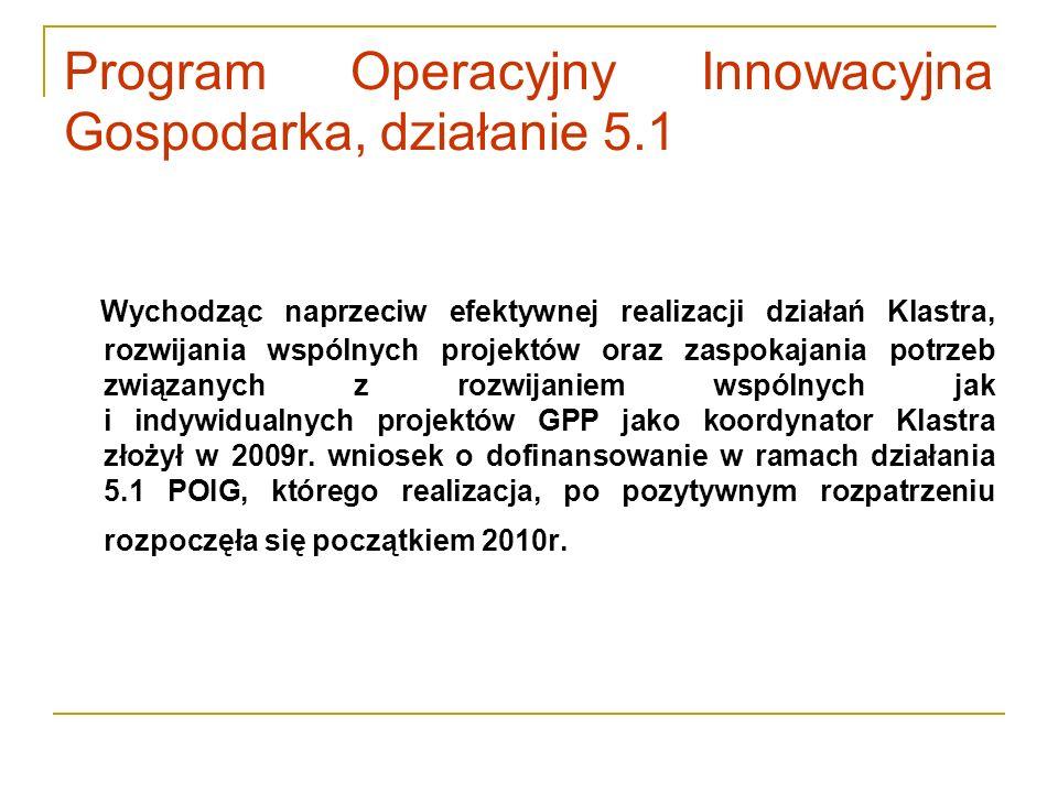 Program Operacyjny Innowacyjna Gospodarka, działanie 5.1 Wychodząc naprzeciw efektywnej realizacji działań Klastra, rozwijania wspólnych projektów ora