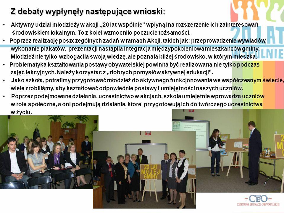 Z debaty wypłynęły następujące wnioski: Aktywny udział młodzieży w akcji 20 lat wspólnie wpłynął na rozszerzenie ich zainteresowań środowiskiem lokaln