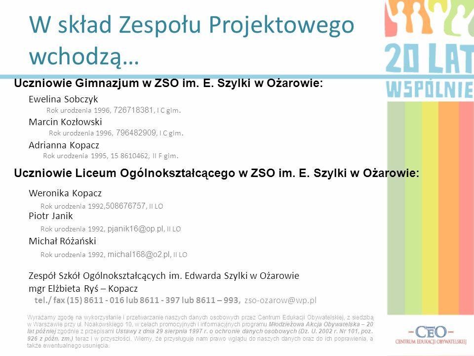 Ewelina Sobczyk Rok urodzenia 1996, 726718381, I C gim. Marcin Kozłowski Rok urodzenia 1996, 796482909, I C gim. Adrianna Kopacz Rok urodzenia 1995, 1