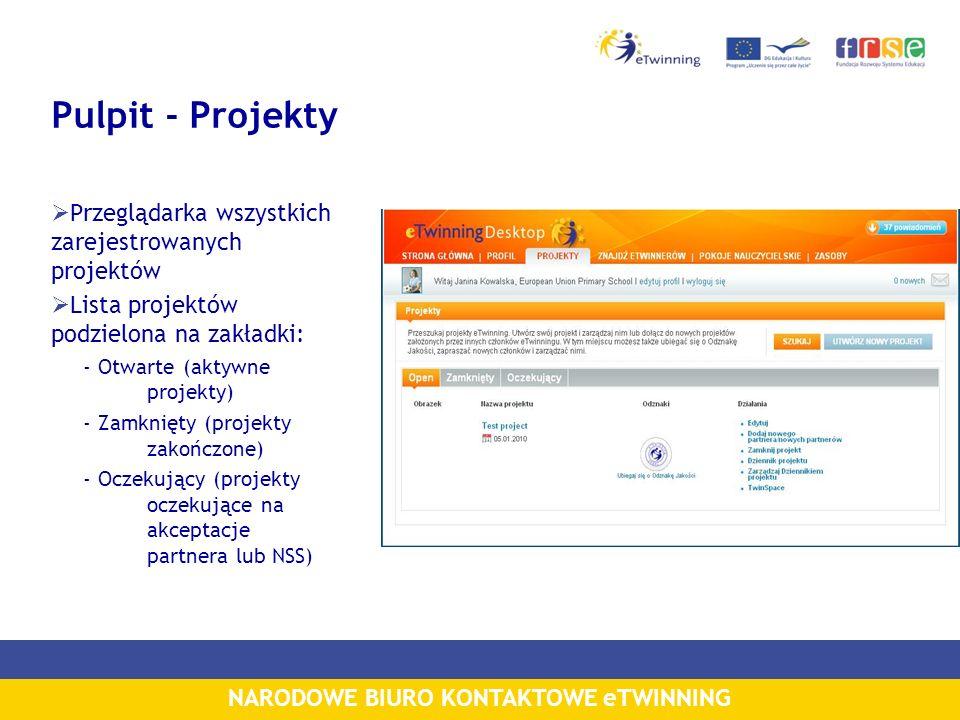 NARODOWE BIURO KONTAKTOWE eTWINNING Pulpit - Projekty Przeglądarka wszystkich zarejestrowanych projektów Lista projektów podzielona na zakładki: - Otw