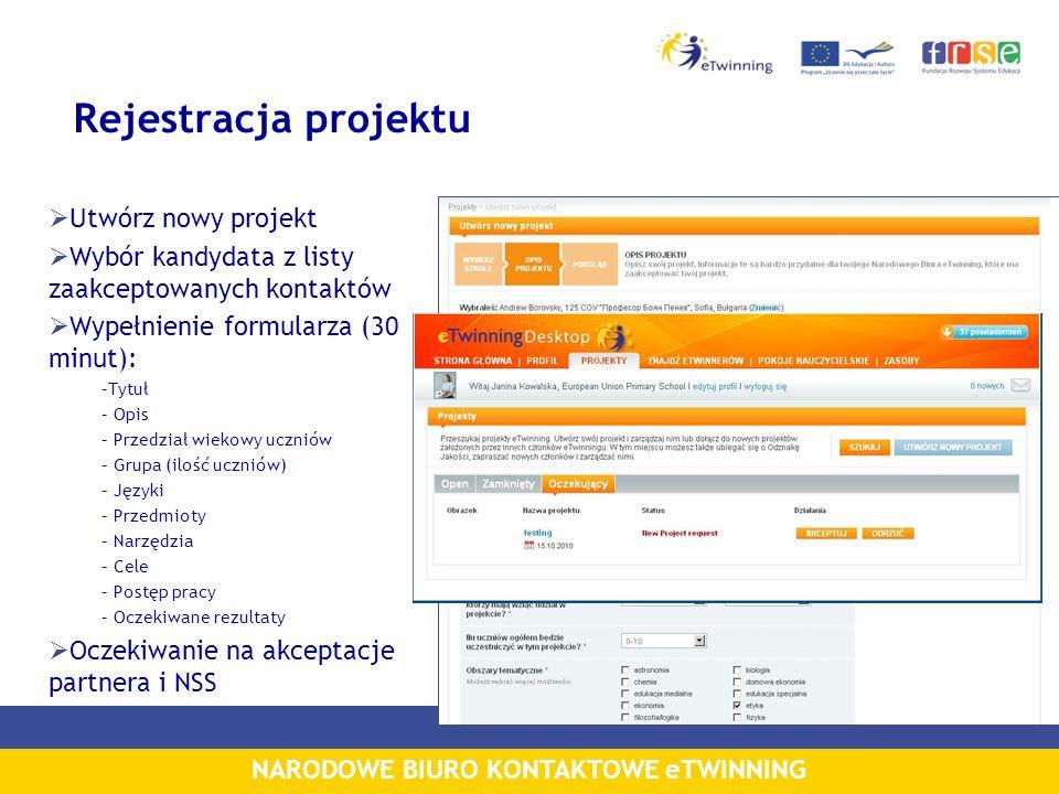 NARODOWE BIURO KONTAKTOWE eTWINNING Rejestracja projektu Utwórz nowy projekt Wybór kandydata z listy zaakceptowanych kontaktów Wypełnienie formularza