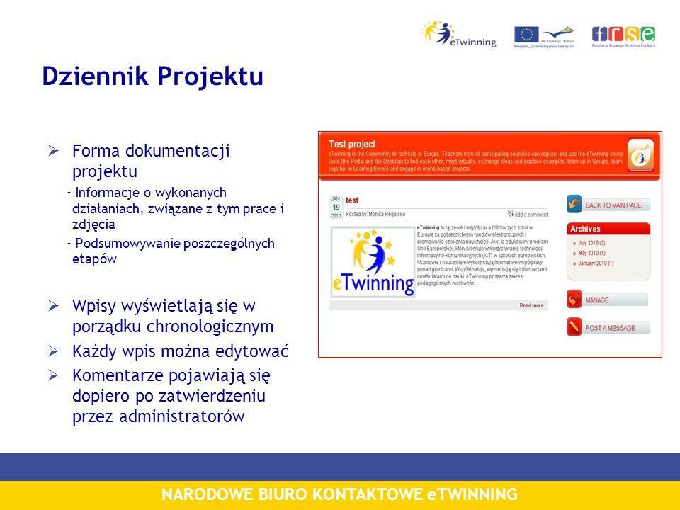 NARODOWE BIURO KONTAKTOWE eTWINNING Dziennik Projektu Forma dokumentacji projektu - Informacje o wykonanych działaniach, związane z tym prace i zdjęci
