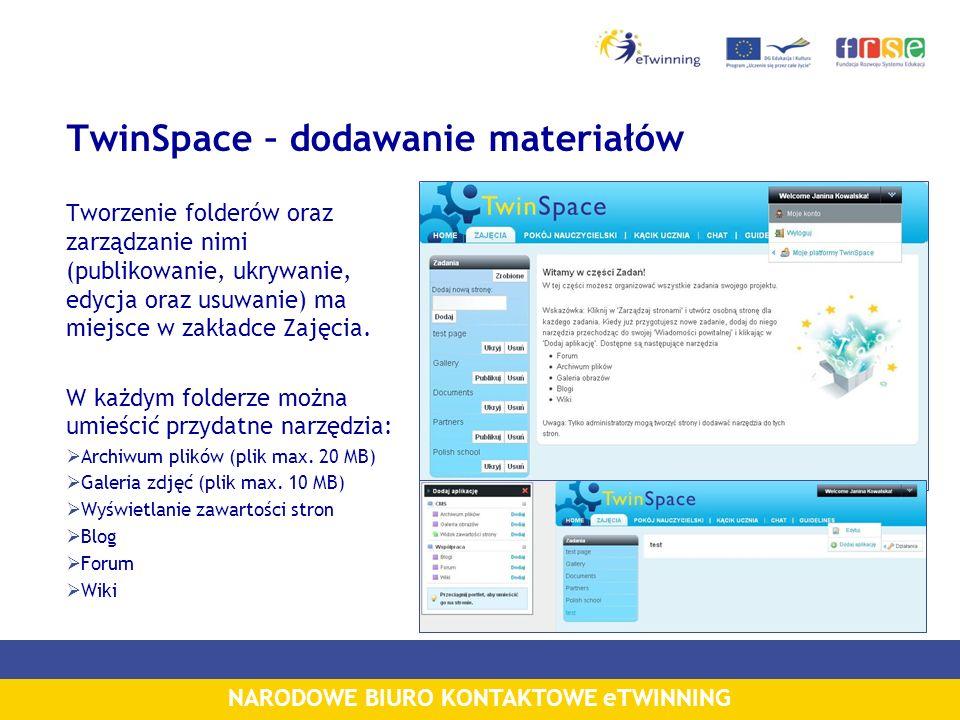 NARODOWE BIURO KONTAKTOWE eTWINNING TwinSpace – dodawanie materiałów Tworzenie folderów oraz zarządzanie nimi (publikowanie, ukrywanie, edycja oraz us