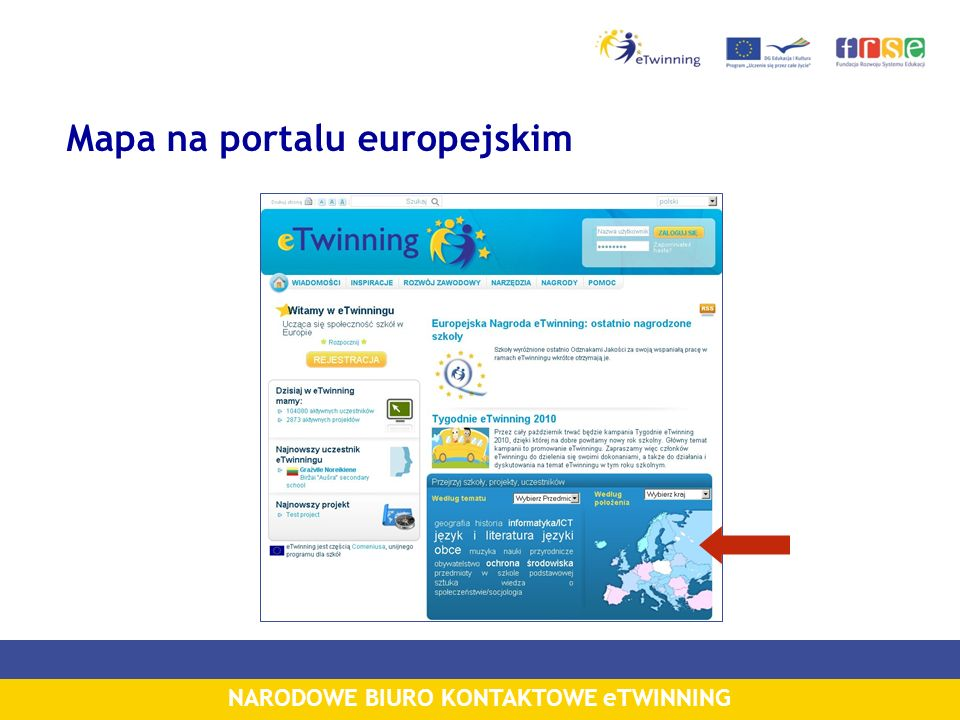 NARODOWE BIURO KONTAKTOWE eTWINNING Mapa na portalu europejskim