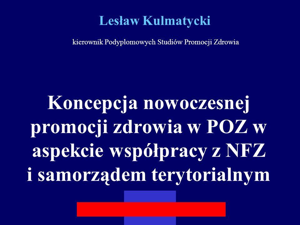 Lesław Kulmatycki kierownik Podyplomowych Studiów Promocji Zdrowia Koncepcja nowoczesnej promocji zdrowia w POZ w aspekcie współpracy z NFZ i samorządem terytorialnym