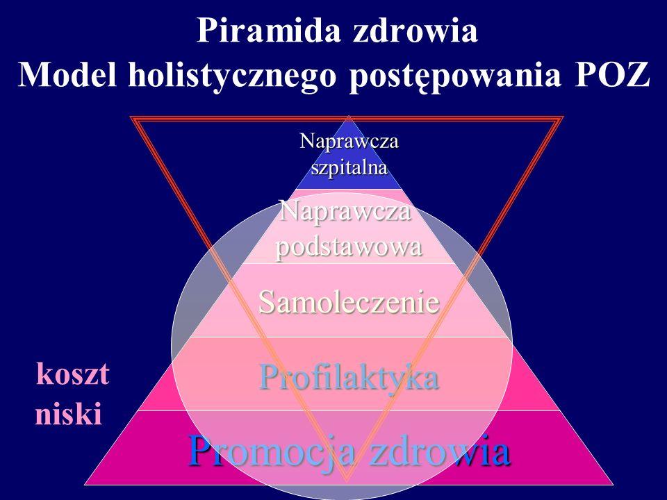 Piramida zdrowia model tradycyjnego postępowania POZNaprawczaszpitalnaNaprawczapodstawowa Samoleczenie Profilaktyka Promocja zdrowia koszt średni