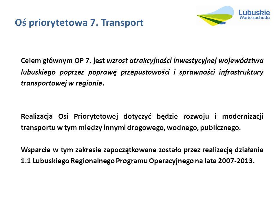 Oś priorytetowa 7. Transport Celem głównym OP 7. jest wzrost atrakcyjności inwestycyjnej województwa lubuskiego poprzez poprawę przepustowości i spraw