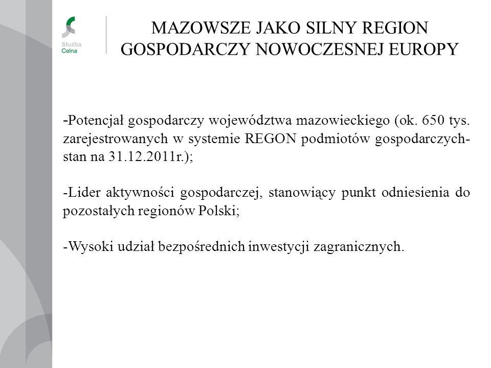 MAZOWSZE JAKO SILNY REGION GOSPODARCZY NOWOCZESNEJ EUROPY - Potencjał gospodarczy województwa mazowieckiego (ok.