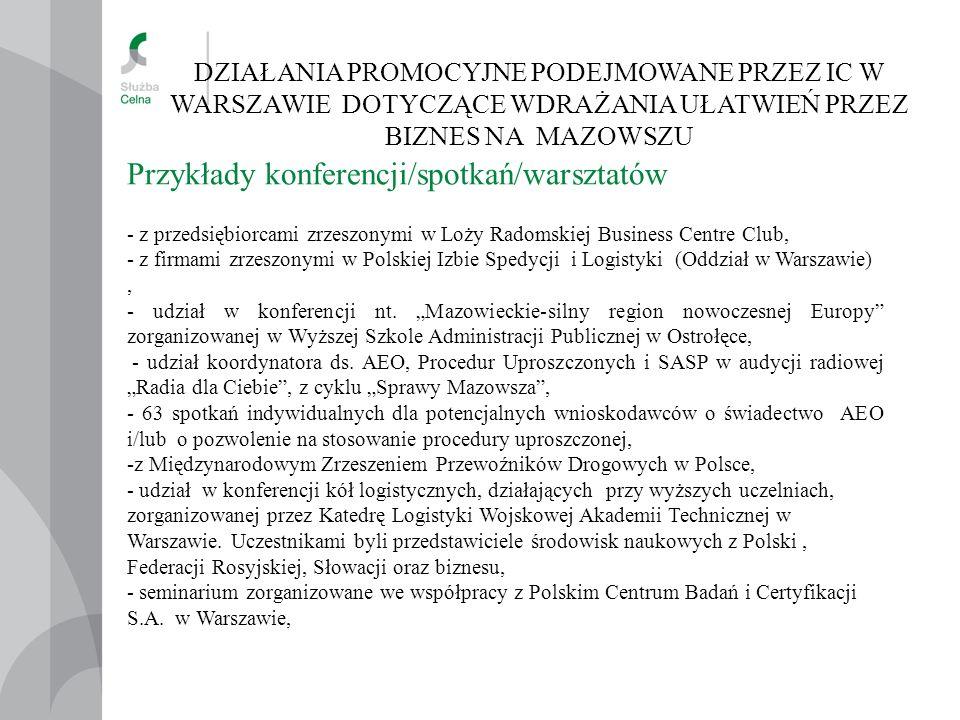 DZIAŁANIA PROMOCYJNE PODEJMOWANE PRZEZ IC W WARSZAWIE DOTYCZĄCE WDRAŻANIA UŁATWIEŃ PRZEZ BIZNES NA MAZOWSZU Przykłady konferencji/spotkań/warsztatów - z przedsiębiorcami zrzeszonymi w Loży Radomskiej Business Centre Club, - z firmami zrzeszonymi w Polskiej Izbie Spedycji i Logistyki (Oddział w Warszawie), - udział w konferencji nt.