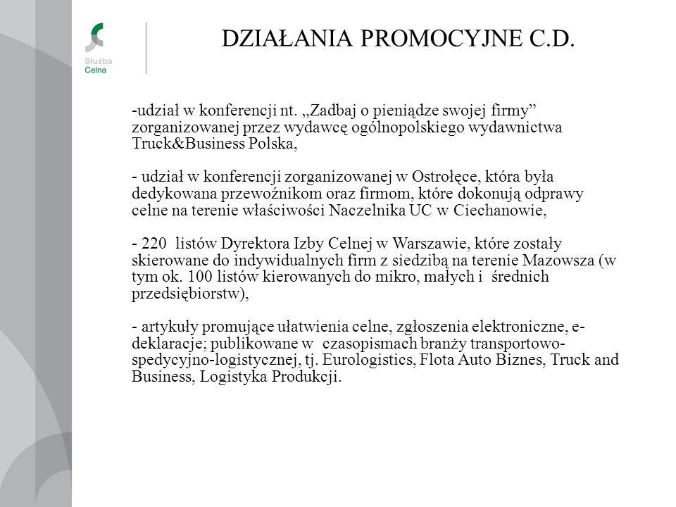 DZIAŁANIA PROMOCYJNE C.D. -udział w konferencji nt.