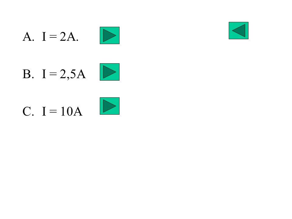 A.I = 2A. B.I = 2,5A C.I = 10A