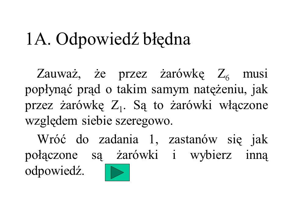 1A. Odpowiedź błędna Zauważ, że przez żarówkę Z 6 musi popłynąć prąd o takim samym natężeniu, jak przez żarówkę Z 1. Są to żarówki włączone względem s