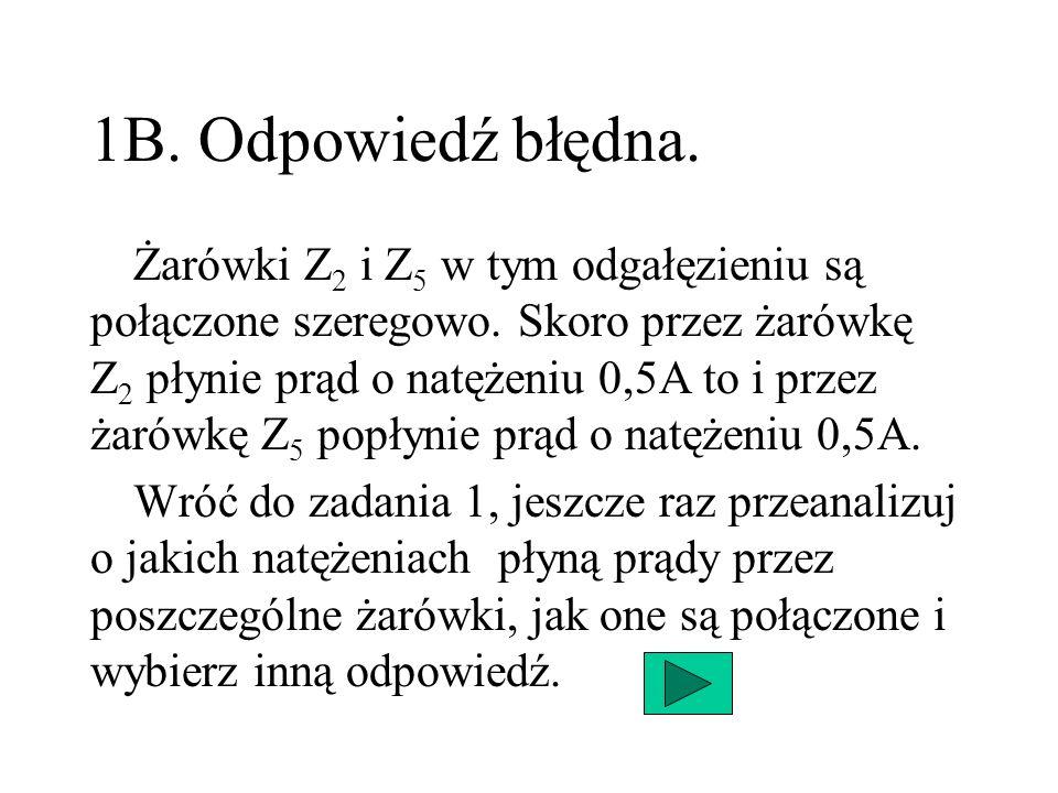 1B. Odpowiedź błędna. Żarówki Z 2 i Z 5 w tym odgałęzieniu są połączone szeregowo. Skoro przez żarówkę Z 2 płynie prąd o natężeniu 0,5A to i przez żar
