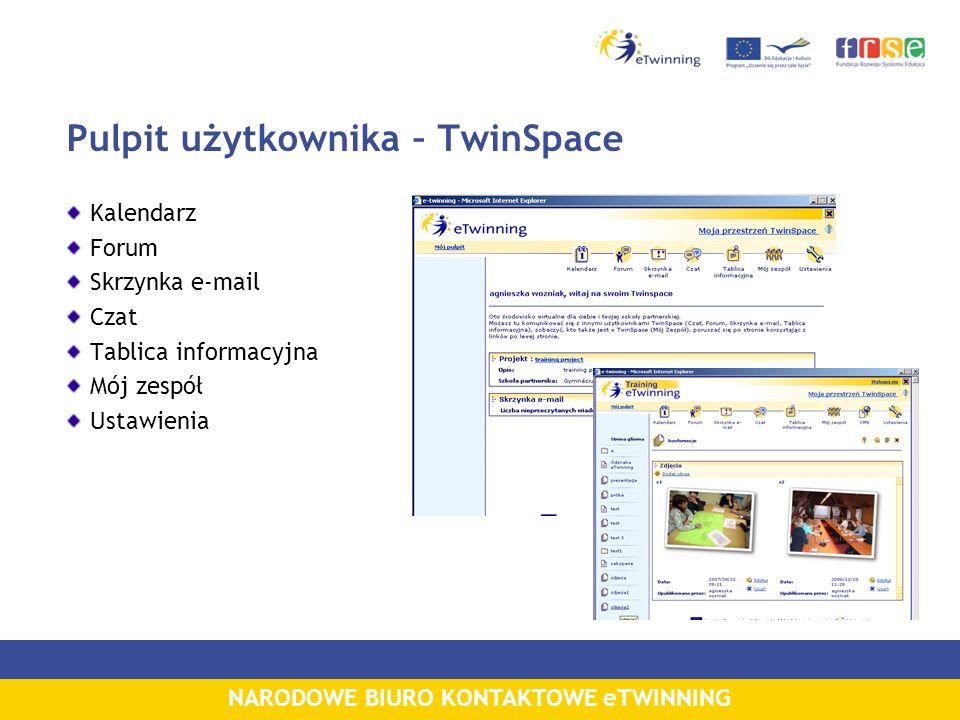 NARODOWE BIURO KONTAKTOWE eTWINNING Pulpit użytkownika – TwinSpace Kalendarz Forum Skrzynka e-mail Czat Tablica informacyjna Mój zespół Ustawienia