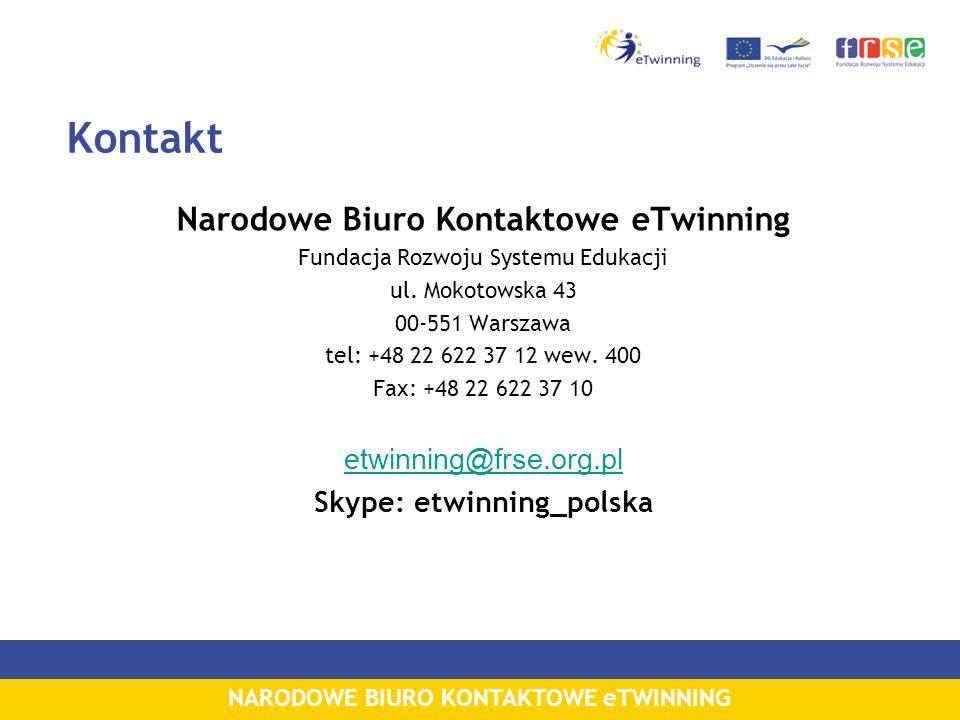 NARODOWE BIURO KONTAKTOWE eTWINNING Kontakt Narodowe Biuro Kontaktowe eTwinning Fundacja Rozwoju Systemu Edukacji ul. Mokotowska 43 00-551 Warszawa te