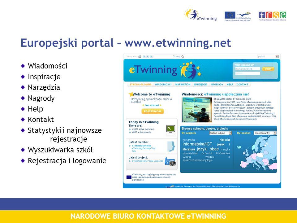 NARODOWE BIURO KONTAKTOWE eTWINNING Europejski portal – www.etwinning.net Wiadomości Inspiracj e Narzędzia Nagrody Help Kontakt Statystyki i najnowsze