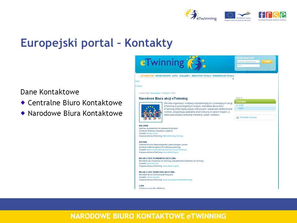 NARODOWE BIURO KONTAKTOWE eTWINNING Europejski portal – Kontakty Dane Kontaktowe Centralne Biuro Kontaktowe Narodowe Biura Kontaktowe
