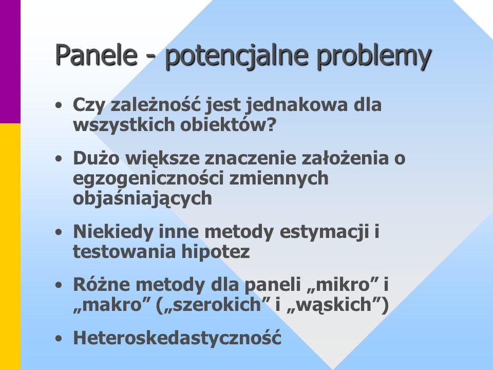 Panele - potencjalne problemy Czy zależność jest jednakowa dla wszystkich obiektów? Dużo większe znaczenie założenia o egzogeniczności zmiennych objaś