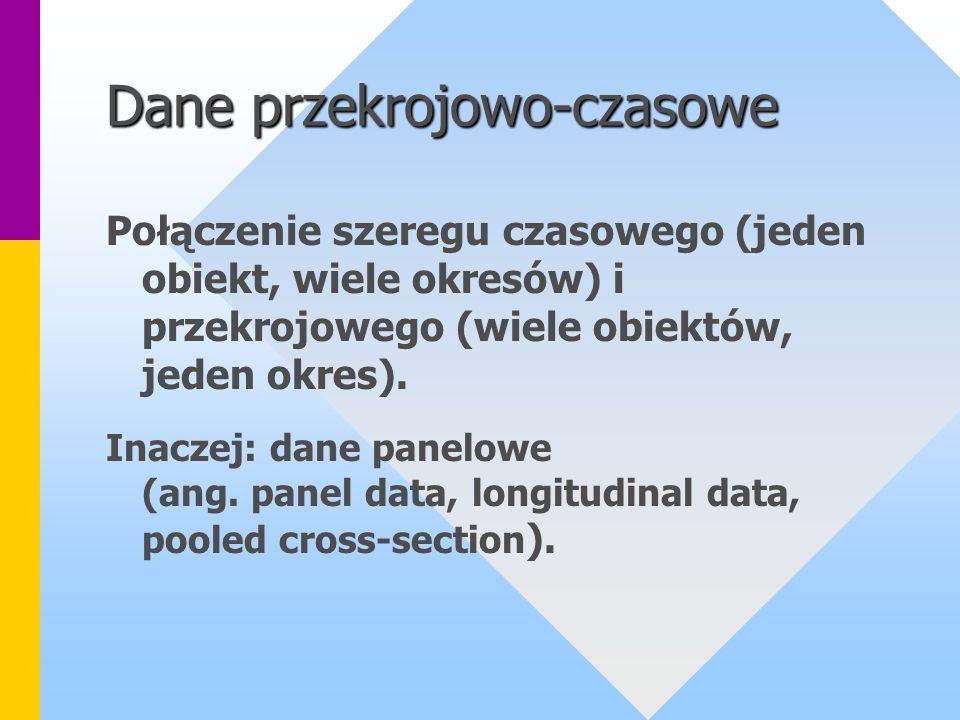 Dane przekrojowo-czasowe Połączenie szeregu czasowego (jeden obiekt, wiele okresów) i przekrojowego (wiele obiektów, jeden okres). Inaczej: dane panel