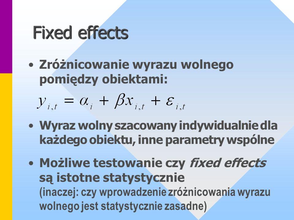Fixed effects Zróżnicowanie wyrazu wolnego pomiędzy obiektami: Wyraz wolny szacowany indywidualnie dla każdego obiektu, inne parametry wspólne Możliwe
