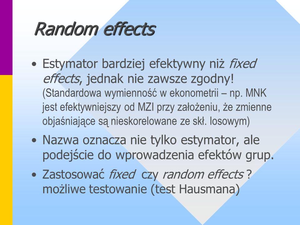 Random effects Estymator bardziej efektywny niż fixed effects, jednak nie zawsze zgodny! (Standardowa wymienność w ekonometrii – np. MNK jest efektywn