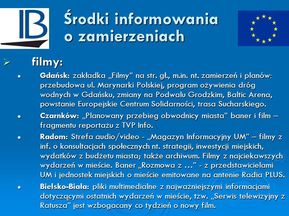 Środki informowania o zamierzeniach filmy: filmy: Gdańsk: zakładka Filmy na str. gł., m.in. nt. zamierzeń i planów: przebudowa ul. Marynarki Polskiej,