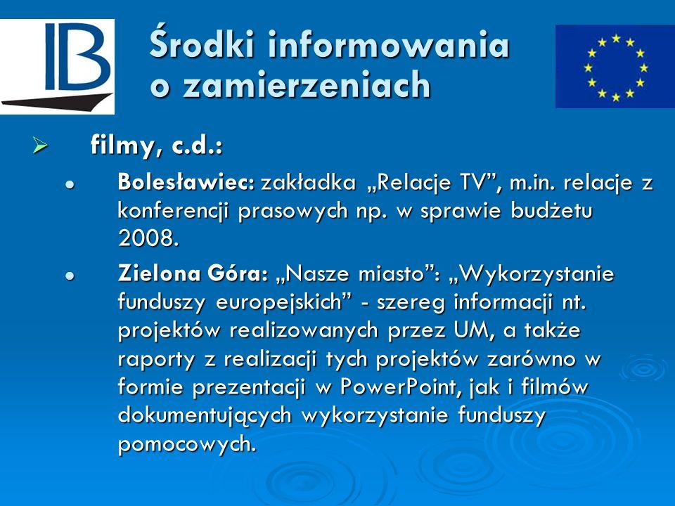 Środki informowania o zamierzeniach filmy, c.d.: filmy, c.d.: Bolesławiec: zakładka Relacje TV, m.in. relacje z konferencji prasowych np. w sprawie bu