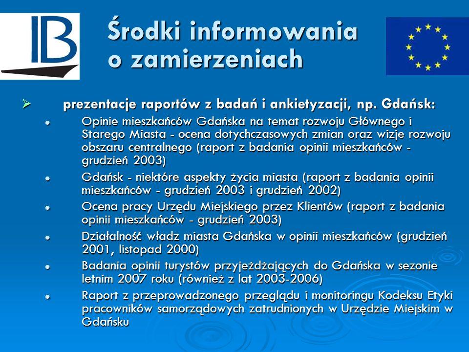 Środki informowania o zamierzeniach prezentacje raportów z badań i ankietyzacji, np. Gdańsk: prezentacje raportów z badań i ankietyzacji, np. Gdańsk: