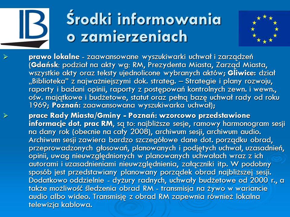 Środki informowania o zamierzeniach prawo lokalne - zaawansowane wyszukiwarki uchwał i zarządzeń (Gdańsk: podział na akty wg: RM, Prezydenta Miasta, Z