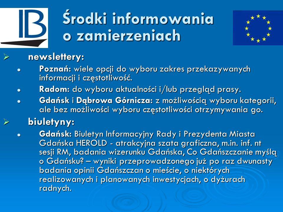 Środki informowania o zamierzeniach newslettery: newslettery: Poznań: wiele opcji do wyboru zakres przekazywanych informacji i częstotliwość. Poznań: