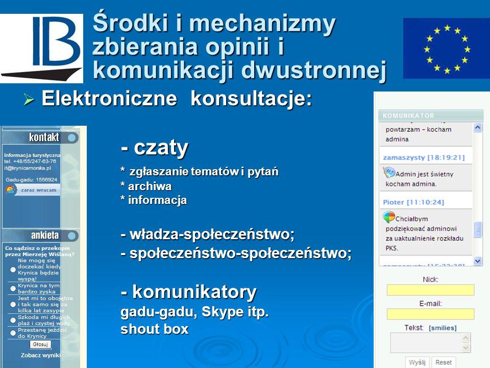 Środki i mechanizmy zbierania opinii i komunikacji dwustronnej Elektroniczne konsultacje: Elektroniczne konsultacje: - czaty * zgłaszanie tematów i py
