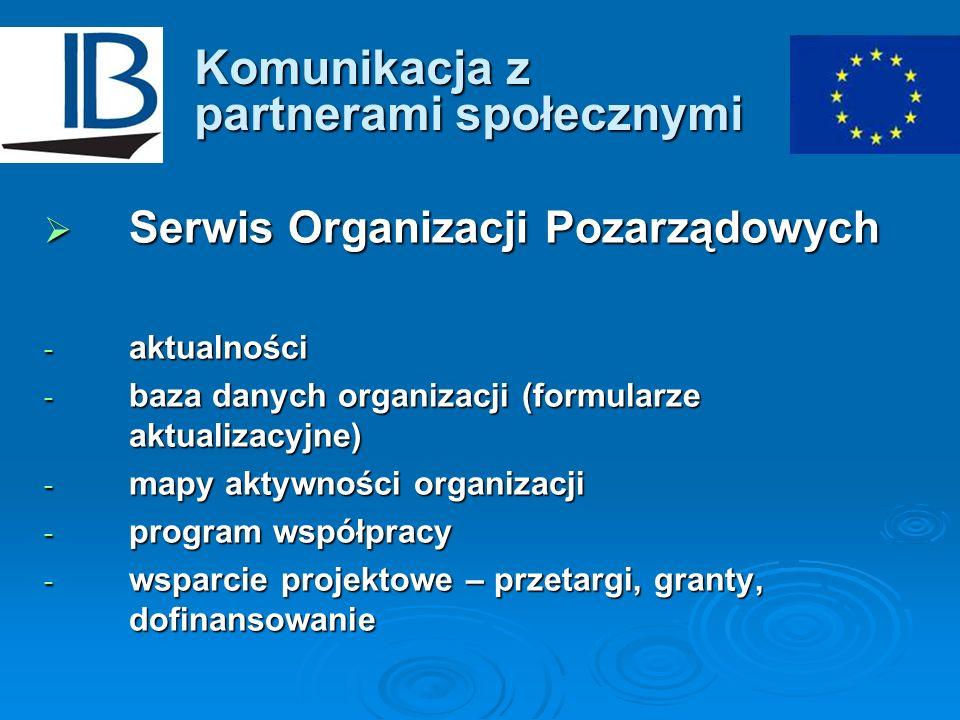 Komunikacja z partnerami społecznymi Serwis Organizacji Pozarządowych Serwis Organizacji Pozarządowych - aktualności - baza danych organizacji (formul