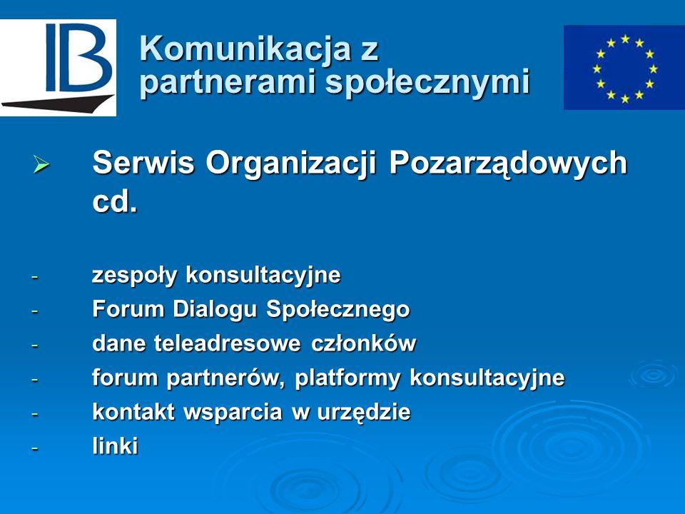 Komunikacja z partnerami społecznymi Serwis Organizacji Pozarządowych cd. Serwis Organizacji Pozarządowych cd. - zespoły konsultacyjne - Forum Dialogu