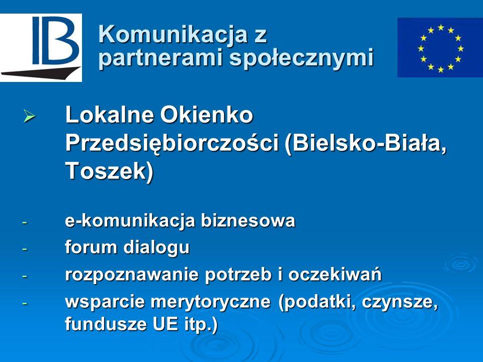 Komunikacja z partnerami społecznymi Lokalne Okienko Przedsiębiorczości (Bielsko-Biała, Toszek) Lokalne Okienko Przedsiębiorczości (Bielsko-Biała, Tos