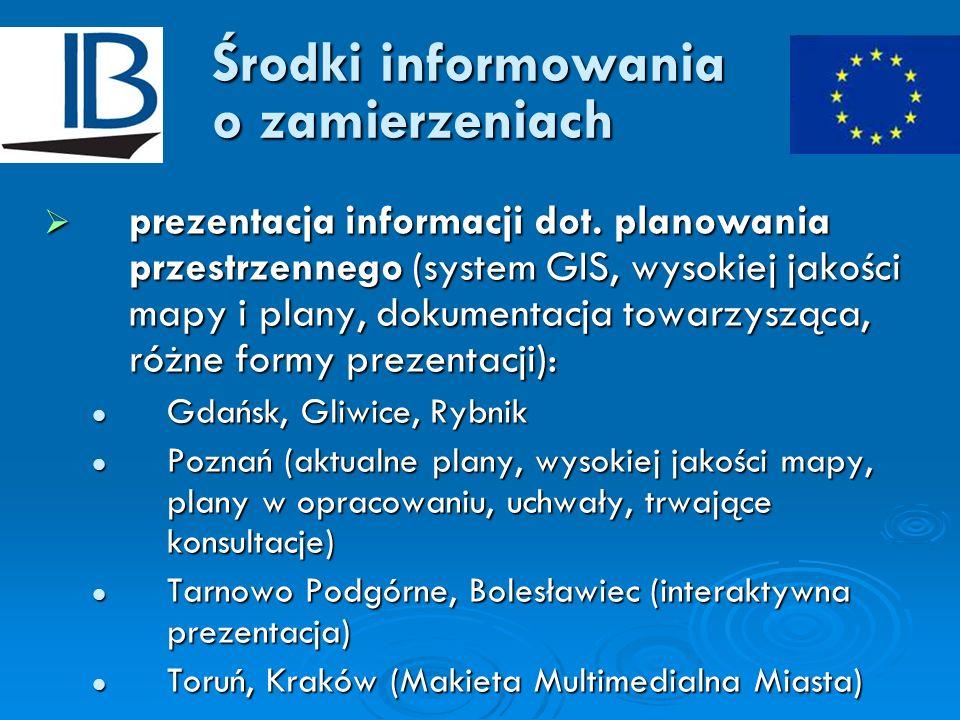 Środki informowania o zamierzeniach prezentacja informacji dot. planowania przestrzennego (system GIS, wysokiej jakości mapy i plany, dokumentacja tow